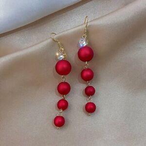 925 Silver Fashion Red Tassel Earrings Stud Dangle Wedding Jewelry Women Gift