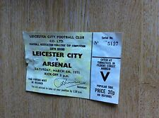 T1-2 ephemera 1971 match ticket leicester v arsenal football glue marks on rever