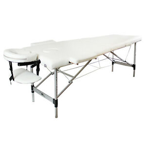 Massage Beauty Bed Portable Table Therapy Couch White Salon Adjustable Folding