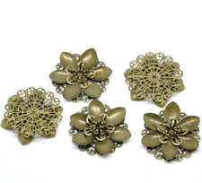 New 10PC Bronze Tone Filigree Flower Wraps Connnector Embellishments 4.5x4.2cm