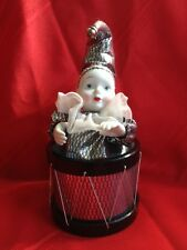 Music Porcelain Moving Jester Clown in a Drum (Blk/Silver  Outfit and Hat)