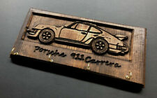 Porsche 911 Carrera key chain hanger holder wood engraved carved gift garage car