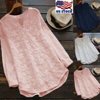Women's Blouse Lace Floral Loose Long Sleeve Casual T Shirt Tops Cotton Linen US