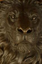 100% Pure Bronze Lion Face Wall Hanging Plaque 3D Mask Sculpture Hot Cast Figure