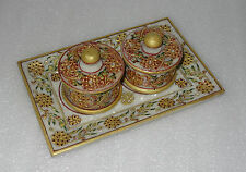 """9"""" Marble Jaipur Hand Painted Gold Handmade Bowl Tray Set For Dry Fruits Gifts"""