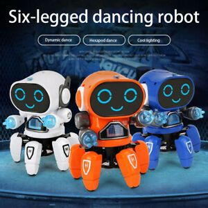 6-Claws Electric Mini Robot Colorful LED Light Music Dancing Kids Toy Xmax Gift