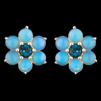 NATURAL 4MM PRECIOUS OPAL & LONDON BLUE TOPAZ SOLID STERLING SILVER 925 EARRING