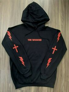 The Weeknd Hoodie with Cross and Lightning Design Black (Red Print)