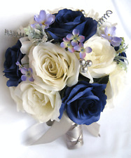 Wedding Bouquets 17 piece Silk Flower Bridal package NAVY blue CREAM SILVER Gray