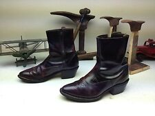 VINTAGE DISTRESSED TEXAS USA CORDOVAN BURGUNDY LEATHER ZIP UP BEATLE BOOTS 7.5 M
