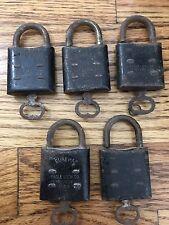Rare LOT Of 5 Vintage Eureka Eagle Lock Co Padlocks With Keys Antique