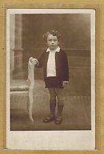 Carte Photo vintage card RPPC enfant habit short veste mode fashion pz0101