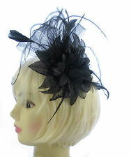 Black Sparkle net and feather fascinator for Ascot , Races, Weddings, Ladies Day