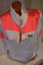 Victoria's Secret love pink sweatshirt crew 1/3 zipper Large L white pink