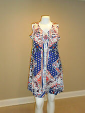 Apt. 9 Women's Printed Embellished Dress Paisley Multicolor Sleeveless Sz:L NEW