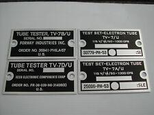 TV-7 TV-7A/U TV-7B/U TV-7D/U tube tester name label data tag plate repair parts