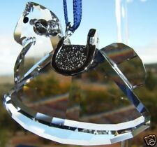SWAROVSKI SILVER CRYSTAL ROCKING HORSE HANGING ORNAMENT MINT IN BOX 718988