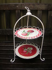 SHABBY COUNTRY APPLE 2 TIER CREAM METAL CAKE STAND