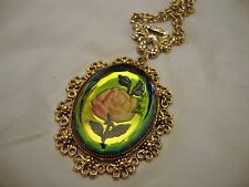 Vintage Costume Jewelry Rainbow Crystal Intaglio Rose Big Necklace
