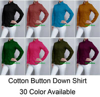 Women Button Down Solid Collar Work Office Shirts Skinny Casual Top Blouse
