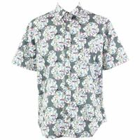 Mens Loud Shirt Retro Psychedelic Festival Party Funky Floral Green REGULAR