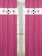 Sweet Jojo Pink Soccer Sports Girl Kid Window Treatment Panels Curtains Covering
