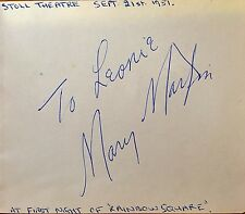 MARY MARTIN AUTOGRAPH AT FIRST NIGHT 'RAINBOW SQUARE' .STOLL THEATRE LONDON