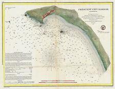 1859 Nautical Chart US Coast Coastal Survey Map Wall Art Decor Cresent City CA
