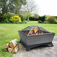 Outdoor Fire Pit Wood Burning Rustic Heater Patio Silver Steel Fireplace Bowl