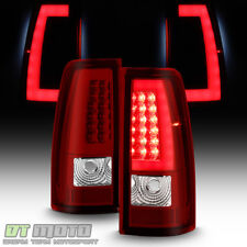 2003 2004 2005 2006 Chevy Silverado Red LED Tail Lights w/ LED Bar Brake Lamps