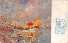B92362 m bortoluzzi in to the port et venice painting postcard italy venezia