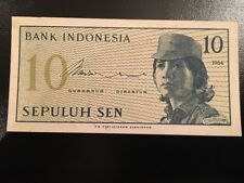 Indonesia Ten Sepuluh Sen Banknote Circulated Condition 1964