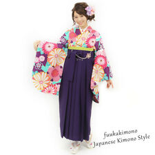 Japanese Hakama Kimono Women Andon Purple- Brand New