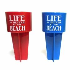 Life is Better at the Beach Spiker Beach Beverage Holder, Blue , Red Colors