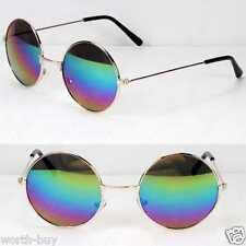 John Lennon Sunglasses Round Hippies Retro Gold Green Blue Mirrored Revo Lens
