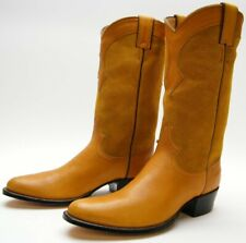 WOMENS VTG JUSTIN MUSTARD YELLOW LEATHER SUEDE COWBOY WESTERN BOOTS SZ 6.5~1/2 B
