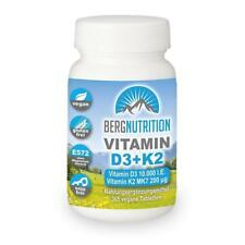 Berg Nutrition K2 MK7 200 µg + Vitamin D3 - 10.000 IE - 365 vegane Tabletten...