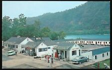 1950's Postcard ~ Edgewater Steak House and Motel ~ Gas Pumps ~ West Virginia