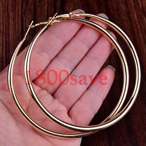 Women's Classic 18K Yellow Gold Filled 40mm/50mm/60mm Round Tube Hoop Earrings