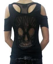 Gothic Lady Top Backfree Net Skull