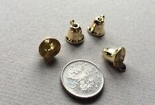 Four 9mm Gold Liberty Bells,Dolls House Miniatures,Tiny Bells,Dinner bell,