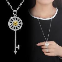 925 Sterling Silver Zircon Key Necklace Pendant Sweater Chain 25 Inch Long