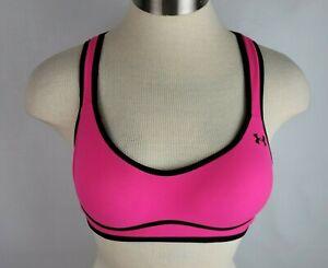 Under Armour Heatgear 34B Hot Pink Padded Athletic Criss Cross back Sports Bra