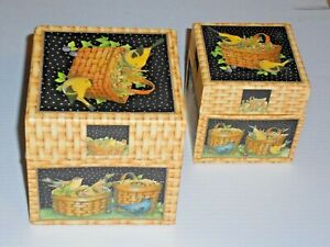 Bob's Boxes Birds and Baskets Artwork by Shelly R. Smith Szs 4''X4'' & 3''X 3''