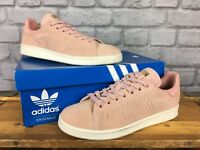 ADIDAS LADIES UK 6 EU 39 1/3 PINK SUEDE STAN SMITH TRAINERS GOLD FOIL BRANDING