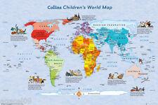I bambini kids MAXI World Map COLLINS POSTER istruzione NUOVISSIMO aiuto Studio