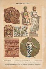 A6513 Terra Cotta - Stampa Antica del 1930 - Cromolitografia