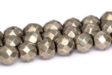 4MM Genuine Natural Pyrite Beads Grade AAA Faceted Round Loose Beads 15.5""