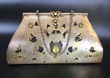 Antique Metal Handbag Cabouchon Decorated & Silk Interior
