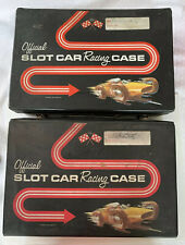 (2) Official SLOT CAR Racing CASE Standard Plastic Products, Cars And Parts Lot!